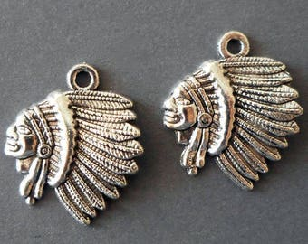 4pcs-Native American charm-Antique silver tone Indian Hero charm