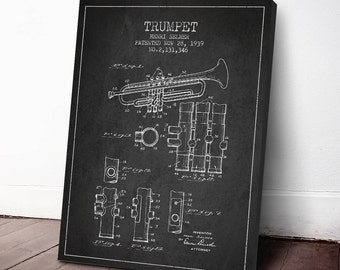 1939 Trumpet Patent, Trumpet Print, Trumpet Canvas Print, Trumpet Poster,  Wall Art, Home Decor, Gift Idea, MUIN07C