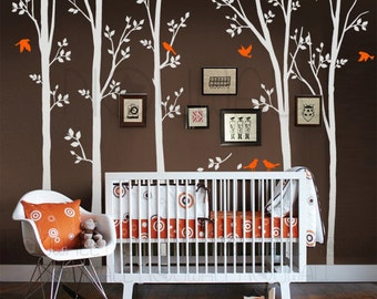 Tree Wall Decals Wall Stickers - Leafy Spring Trees With Birds Wall Decal, Wall Decor 0113
