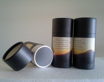 "SET OF THREE Eco-Friendly Cremation Urn Scattering Tubes w/Telescopic Lids - Black/Biodegradable - Style ""Sunset"""