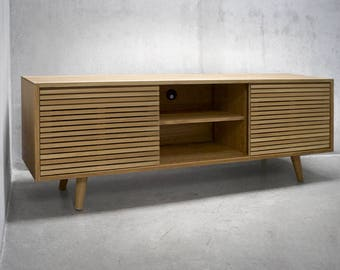 "60"" Solid White Oak Credenza/ Sideboard/ Cabinet/ Media Console with Slatted Doors"