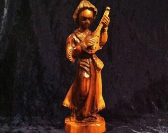 Vintage Hand Carved Native Mandolin Player Wooden Sculpture