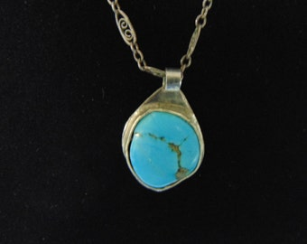 Lovely Vintage Estate Sterling Silver Necklace & Southwest Native American Turquoise Pendant 8.6g #E2166
