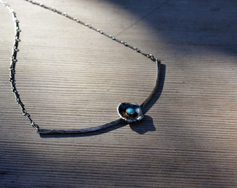 Wild flower and turquoise necklace - sterling silver and 14k gold accent - organic design necklace