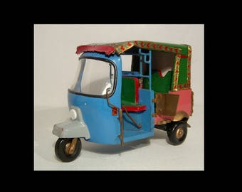 Hand made metal gypsy vardo wagon ~ toy doll ~ blue sparkly green pink painted scene Romani caravan car automobile truck model delivery van