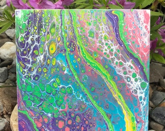 """Fluid Acrylic Pour Painting on 8""""x8"""" Cradled Wood Panel, """"Spring Fever"""", Abstract Art"""