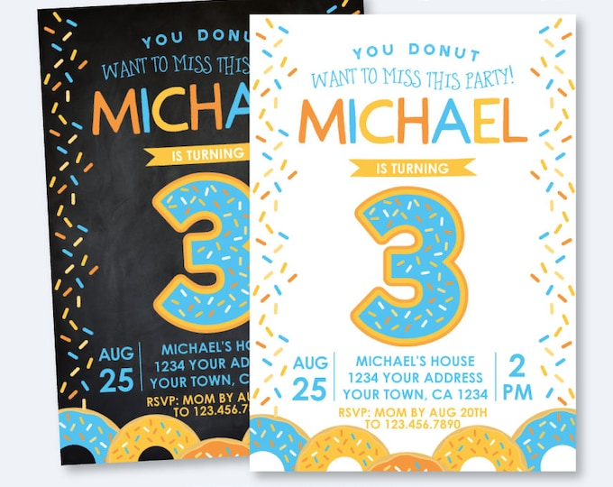 Donut Birthday Invitation, ANY AGE, Sprinkles Birthday Invitation, Boy Birthday Party, Donut Invite, Personalized Invitation, 2 options