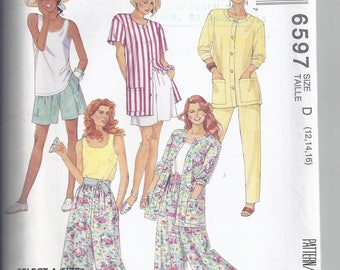 McCalls Pattern # 6597 from 1993:  Misses Shirt, Tank Top, Pants and Culottes Bust 34-38   UNCUT