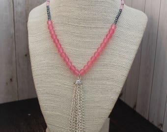 Pink and Gray Boho Beaded Necklace Boho Jewelry Hippie Jewelry Handmade Jewelry Hippie Necklace Bohemian Beaded Jewelry Pendant Necklace