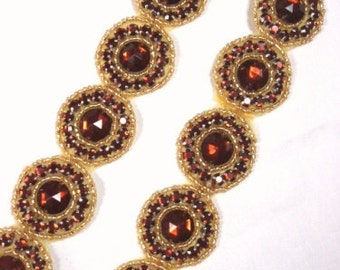 "0379 Bronze Round Jewel Rhinestone Beaded Trim 1.25""  ( Use for Sewing and Crafts )"