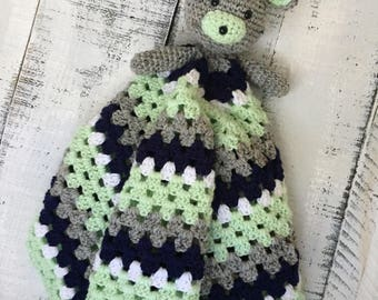 Crocheted Little Bear Snuggler Baby Blanket