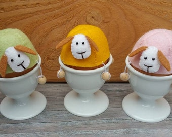 Felt sheep with dangling feet egg warmers - DIY kit