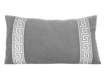 Charcoal grey Designer Velvet Pillow Cover Grey White Greek key ribbon trim All Size Available