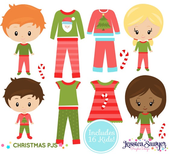 instant download christmas pajama clipart for personal and rh etsy com pajama clipart border clipart pajama party