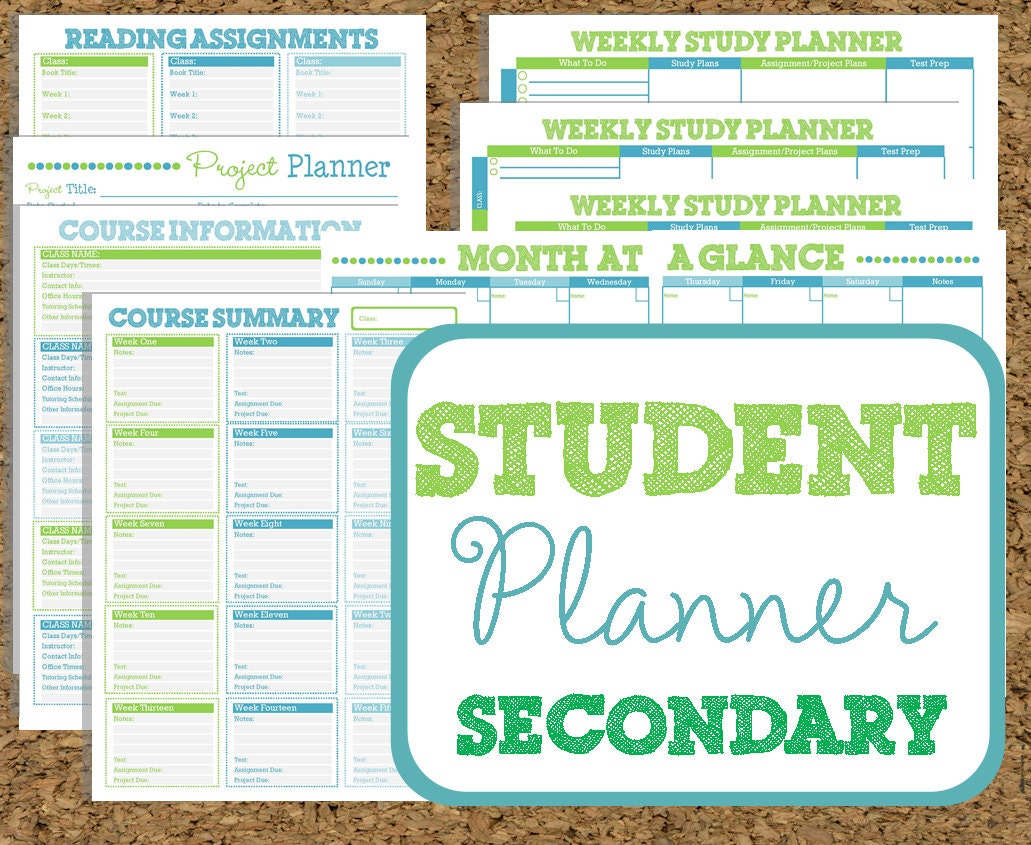 printable student planners