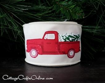 "Christmas Wired Ribbon, 2 1/2"", Red Truck, Christmas Tree - TEN YARD ROLL - ""Tree Truckin' "" Pick-up Truck, Farm Print, Wire Edged Ribbon"