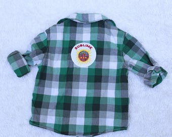Upcycled Rocker patched Flannel, 3T
