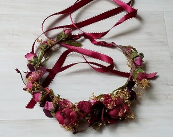 Wine flower crown dried hair wreath dusty mauve Bridal halo Headdress burgundy Wedding Accessories Renaissance Festival circlet