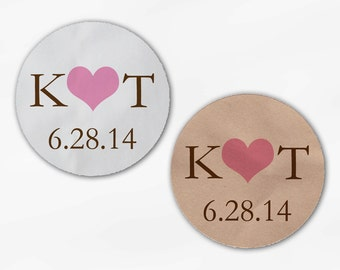 Initials and Heart Wedding Favor Stickers - Pink and Brown Custom White Or Kraft Round Labels for Bag Seals, Envelopes, Mason Jars (2004)