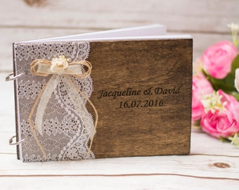 Wedding Guest Book Rustic Wooden Guest Book Personalized Guestbook Wedding Custom Guest Books Pen