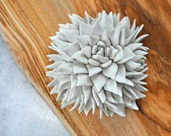 Mini Succulent Wall Tile - Ceramic Wall Sculpture - Ceramic Wall Art - Porcelain Wall Tile - Ceramic Wall Flower