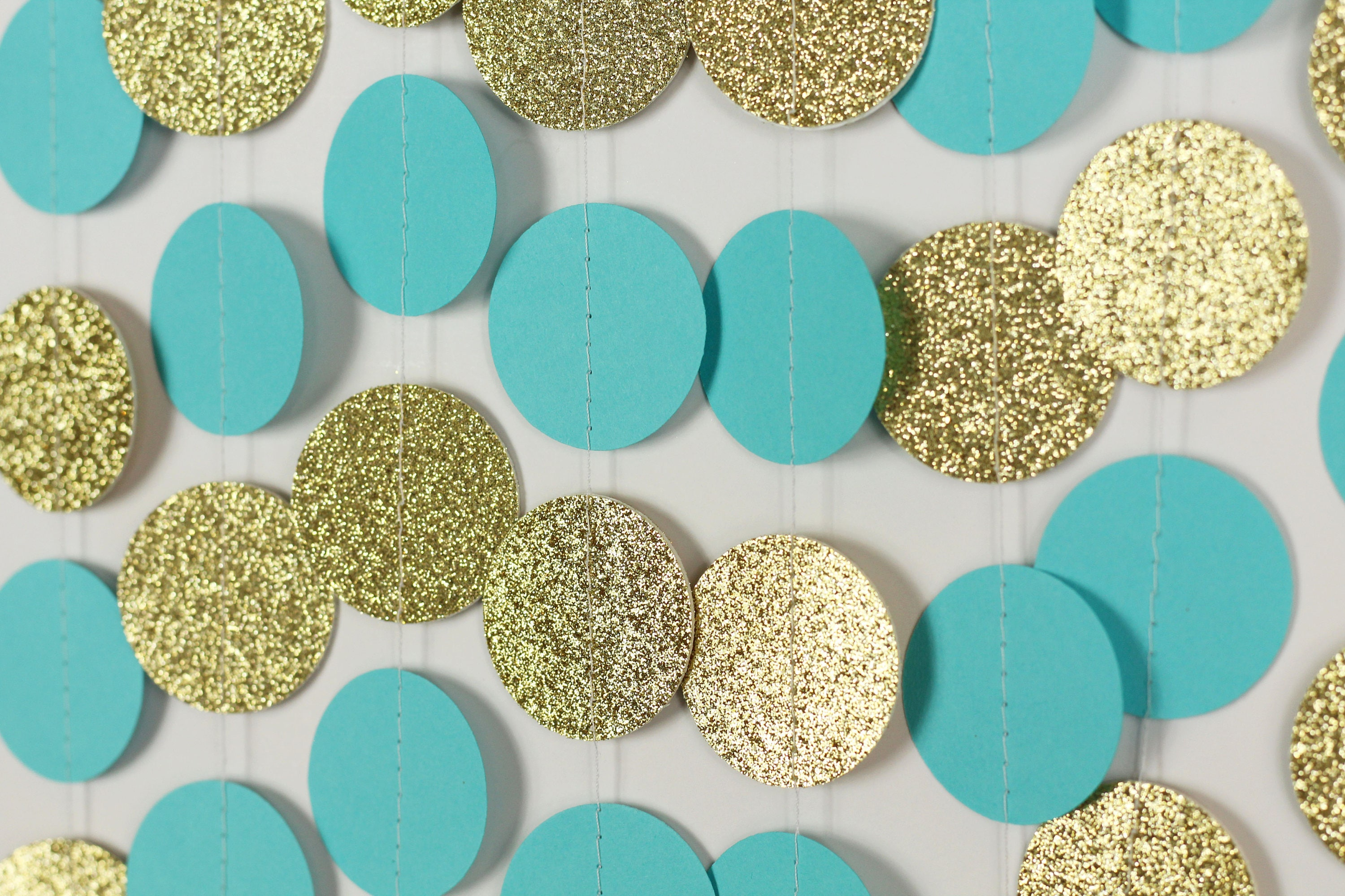 Turquoise and Gold Glitter Garland Turquoise Wedding Decor