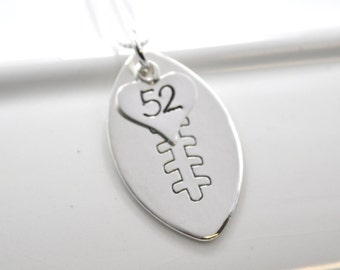 Hand-Stamped Football Mom Necklace with Number