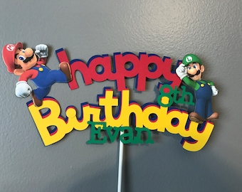 Mario and Luigi Happy Birthday Cake Topper with name and age