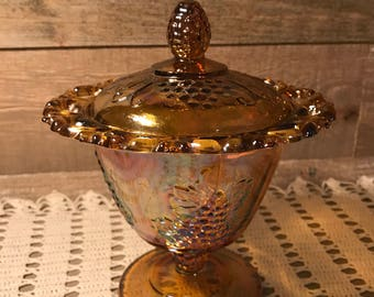 Carnival Glass Amber Harvest Laced Edge Candy Dish With Lid Vintage