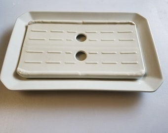 Pillivuyt Rectangular Porcelain Serving Platter with Apilco Drain Plate