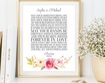 Personalized Wedding Gift sign, Irish Wedding Blessing Wall Art, Engagement Gift print, Gift for her him, Anniversary Poster, DIGITAL FILES