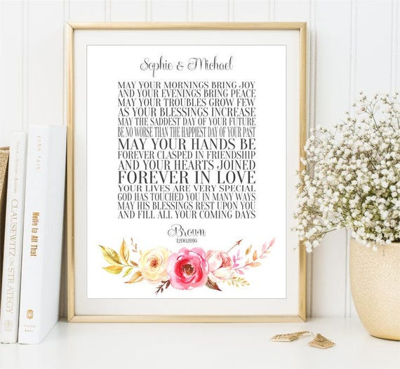 Personalized Wedding Gift Sign Irish Wedding Blessing Wall