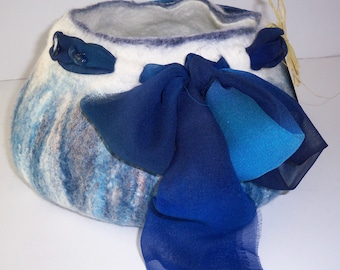 Hand Felted Vessel, OOAK,  Natural, Blue, Scarf, Lapis, Merino Silk Blend, Decoration, Home, Living