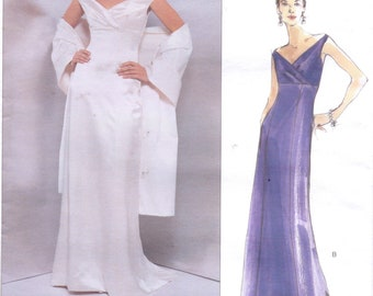 90s Badgley Mischka Womens Evening Gown or Wedding Dress & Shawl Vogue Sewing Pattern 2134 Size 18 Bust 40 American Designer