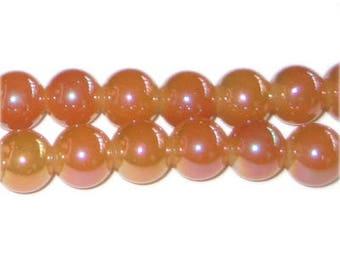 10mm Dawn Orange Galaxy Glass Bead, approx. 19 beads