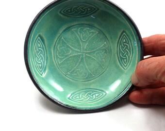 CELTIC KNOT  Offering Bowl Handmade Raku Pottery