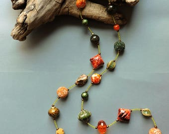 Long necklace, Earth tone necklace, Orange and green necklace, Orange, Green, tan, Copper, Earth tones, Earth colors