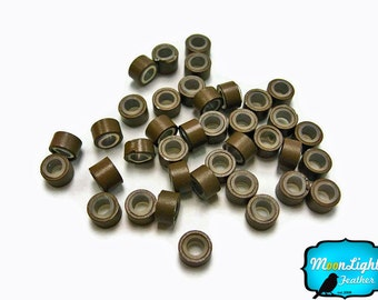 10 Pieces - BROWN Silicone Micro Ring Beads for Feather Hair Extensions: 294