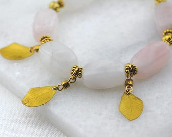 Rose Quartz Beaded Bracelet with Gold Leaves and Beaded Accents