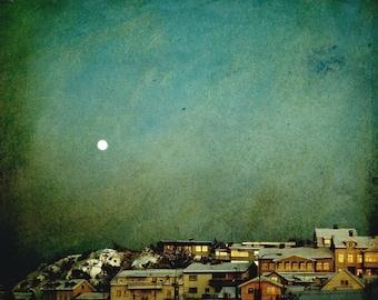 Moon art, dreamscapes, sleepy winter town, fine art landscape photograph 8x10