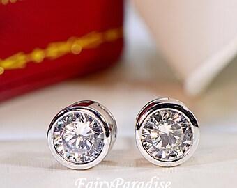 Total 2 Ct (1 carat each) Bezel Set Earrings, Minimalist earrings, Everyday Earrings, Round Cut Man Made Diamond Sterling Silver Earrings