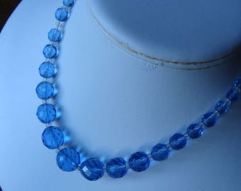 clear blue MULTIFACETED GLASS BEAD strand necklace beaded choker (C5)