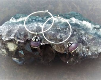 Little Hoops-Mothers Day Gift-Minimalist Jewelry-Sterling Hoops-Purple Agate-Minimalist Hoops-Purple Beads-Hoop Earrings-Boho Chic Jewelry