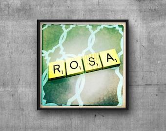 ROSA - Name Art - Scrabble Tile Name - Art Photo - Photography Art Print - Name Sign