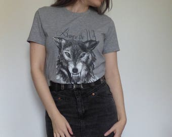 Beware the Wolf, Snarling wolf unisex grey T-shirt