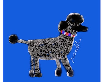French Poodle with Tricoleur A4 print