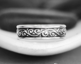 Flourish Wedding Band - Sterling Silver Wide Band Ring - Mens Commitment Ring - Pattern Bridal Band - Mens Wedding Band - Engravable Ring