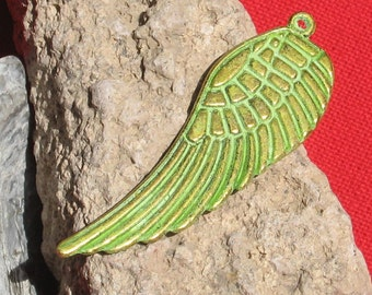 Wing finding, long pendant charm -- keylime green patina 2 pc