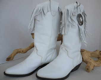 White Fringed Boots With Conchos