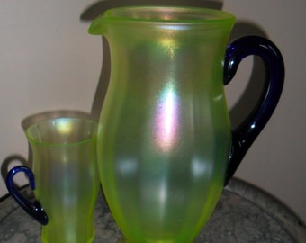 Fenton Carnival Glass Vintage Vaseline Stretch Glass Lemonade Pitcher with Tumbler - Collectible Glass - Collectible Art Glass (098)